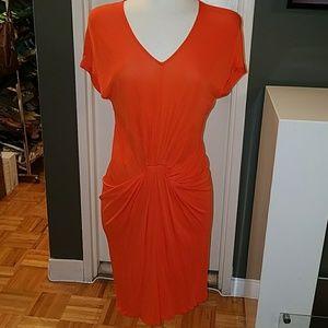 Diane Von Furstenberg orange red Gathered Dress